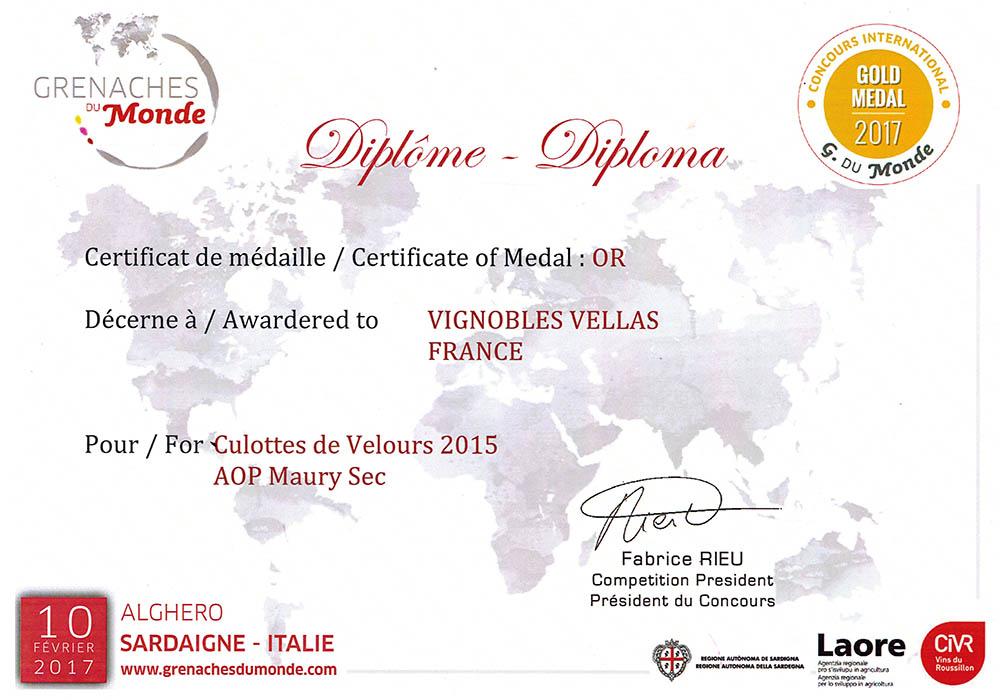 Culotte de Velours 2015 - Médaille Or - Grenaches du Monde (Diplôme)